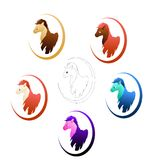 Cute ponies in different colours. Set of cute ponies in different colours vector illustration