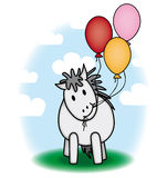 Cute pony and balloons stock illustration