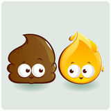 Cute poop and pee characters Stock Photo