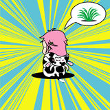 Cute pop art doodle of a girl dressed as a cow. Thinking of food Royalty Free Stock Photography