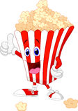 Cute popcorn cartoon with thumb up Stock Photos
