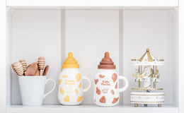 Cute Porcelain Milk Bottles with Colorful Covers Royalty Free Stock Photo
