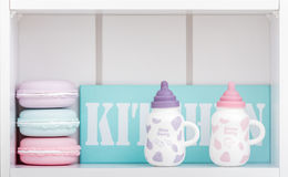 Cute Porcelain Milk Bottles with Colorful Covers Royalty Free Stock Images