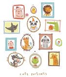 Cute portraits with animal royalty free illustration