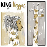Cute portraits of giraffe and lion Royalty Free Stock Photography
