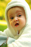 Cute portrate baby in white Stock Image