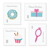 Cute postage stamps for birthday or scrapbook design. Decorative stickers for girls. Vector Stock Photo