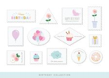 Cute postage stamps for birthday or scrapbook design. Decorative stickers for girls. Vector Stock Photography