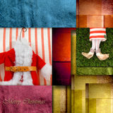 Cute Postal Cards Christmas, Santa Claus. Colorful background Stock Image