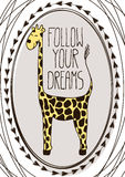 Cute postcard with cartoon giraffe Royalty Free Stock Image