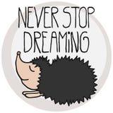 Cute postcard with cartoon hedgehog Royalty Free Stock Image