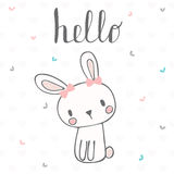Cute postcard with funny rabbit. Card with hello text for little Stock Images