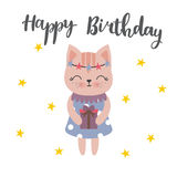 Cute postcard Happy Birthday with lovely kitty and gift. Sweet background with stars Stock Image