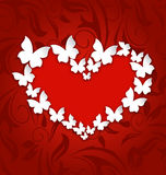 Cute postcard with heart made in paper butterflies for Valentine Royalty Free Stock Photos