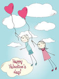 Cute postcard for Valentine\\\'s day Royalty Free Stock Photos