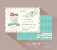 Cute postcard wedding card design Template Royalty Free Stock Photos