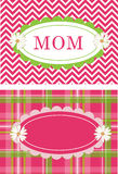 Cute Postcards Daisy Flower Chevron Plaid Stock Images