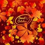 Cute poster or greeting card with inscription and modern design on theme of golden autumn. Ornate texture of fallen stock illustration