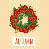 Cute poster or greeting card with modern design on theme of golden autumn. Ornate wreath of bunches of red mountain ash vector illustration