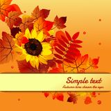 Cute poster greeting card with text and modern design on theme of golden autumn. Ornate backdrop of fallen autumn tree royalty free illustration
