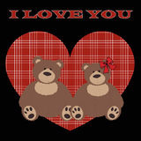 Cute poster, I love you with a couple of stuffed bears Stock Photo