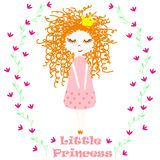 Poster with little princess - vector, illustration, eps. Cute poster with a little princess on a background of flowers stock illustration