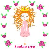 Poster with princess and flowers - vector, illustration, eps. Cute poster with a little princess on a background of flowers royalty free illustration