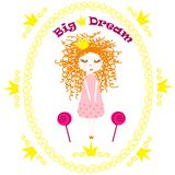 Poster princess big dream - vector, illustration, eps. Cute poster with a little princess and a crown, vector, illustration, eps stock illustration