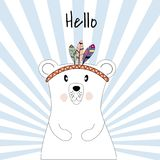 Cute poster with polar bear plays the Indians vector illustration