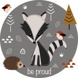 Be proud little raccoon - vector illustration, eps royalty free illustration