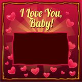 Cute poster with space for your text and the words I love you baby on a background of hearts. Cover for baby photo album. Or photo frame. Vector cartoon close vector illustration