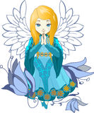 Cute Praing Angel Cartoon Vector Royalty Free Stock Photo