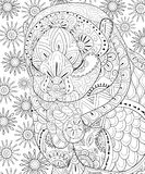 Adult coloring book,page a cute praying otter for relaxing.Zen art style illustration. Royalty Free Stock Image