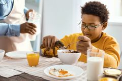 Cute pre-teen boy feeding spoonful of cereals to toy. Hungry dinosaur. Cheerful pre-teen boy feeding a spoonful of cereals to a toy dinosaur while having Royalty Free Stock Photos