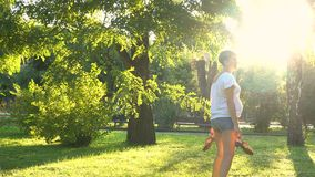 Pregnant girl in the park outdoors stock footage