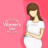 Cute pregnant lady for Womens Day celebration. Royalty Free Stock Images