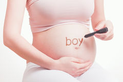 Cute pregnant mother expecting a baby boy Royalty Free Stock Photography