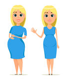 Cute pregnant woman in blue dress. Beautiful blond pregnant girl standing in two poses, set. Stock Images