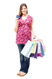 Cute pregnant woman going shopping Royalty Free Stock Photos