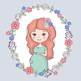Cute pregnant woman. Happy mom expecting baby, young smiling woman waiting for baby. Vector illustration Royalty Free Stock Photography