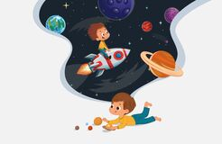 Free Cute Preschool Boy Sit On The Floor And Play With The Toy Planets And Imagine Himself Trevel On The Rocket. Space Royalty Free Stock Photography - 198150717