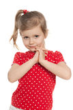 Cute preschool girl against the white Royalty Free Stock Images