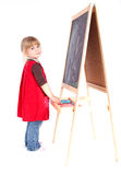 Cute preschool girl with blackboard Stock Photography