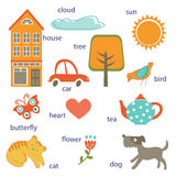 Cute preschool words collection Stock Photography