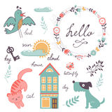 Cute preschool words collection Stock Photo