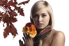 Cute and pretty blonde wearing a scarf and Stock Photo