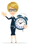 Cute pretty girl with an alarm clock, vector Stock Image