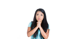 A cute, pretty girl praying Stock Photography