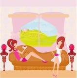Cute pretty girls in coffee break Royalty Free Stock Image