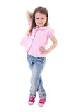 Cute pretty little girl posing isolated on white Royalty Free Stock Photography